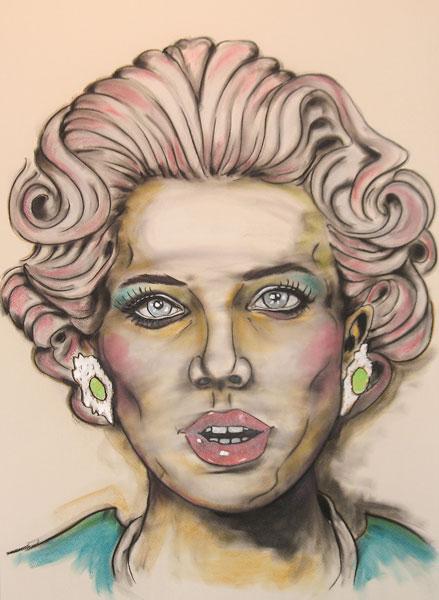 TitleTHE GOOD WIFE   Mediummixed media on canvas, charcoal chalk acrylics   Size100 x 70 x 4 cm