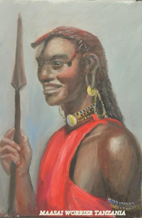 TitleMaasaii Warrior. Kenya   Mediumoil   Size24x16