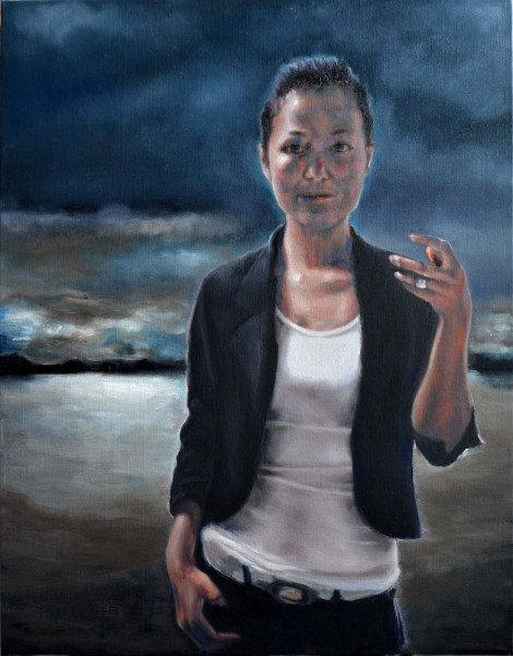 "TitleSelf-shot at dusk   Medium	oil on canvas   Size	24""X36"""