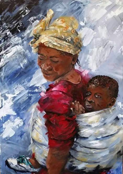 Titlea mothers love   Medium	Acrylic   Size	1000x750