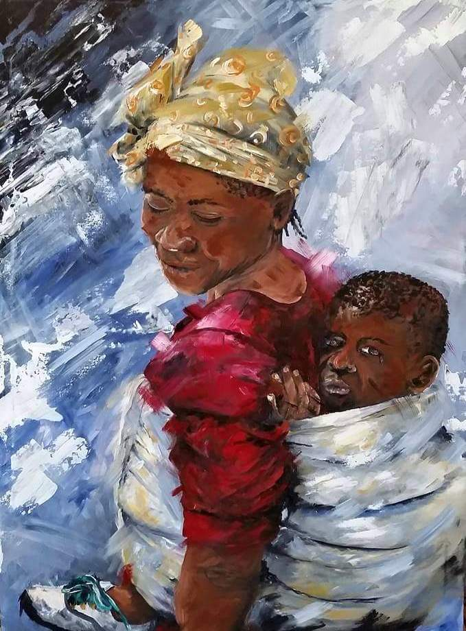 Title a mothers love Medium Acrylic Size 1000x750