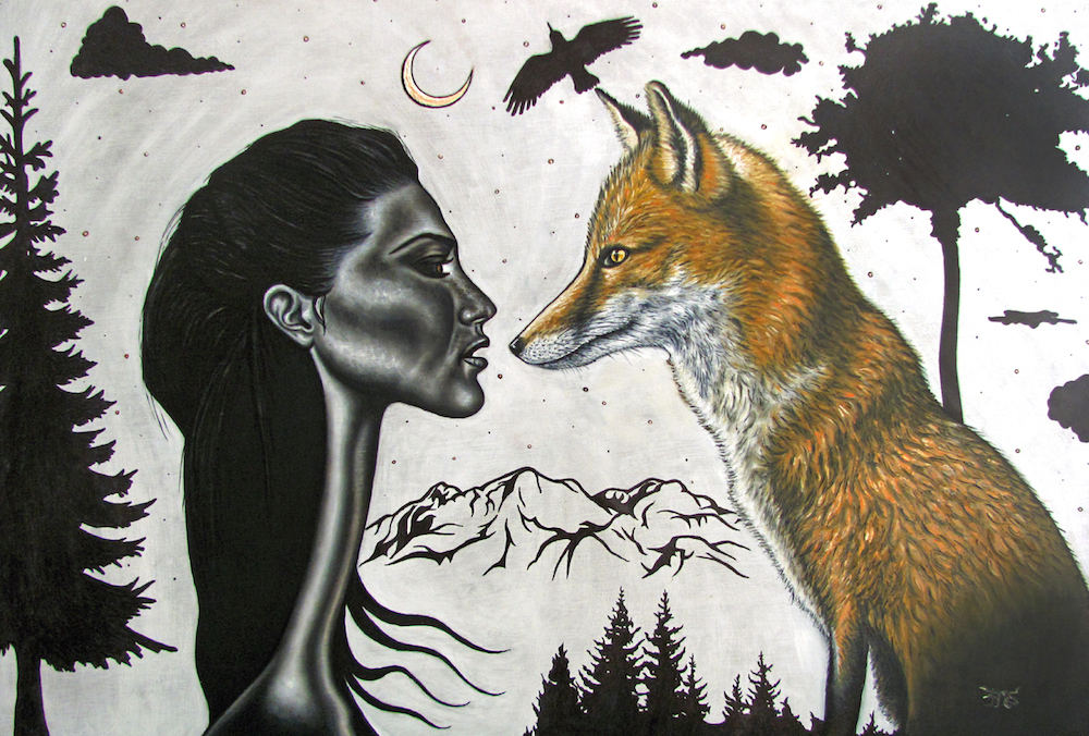 "Title ""The Wild"" Medium Oil & ink on wood Size 36"" x 24"""