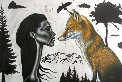 "Title""The Wild""   Medium Oil & ink on wood   Size36"" x 24"""