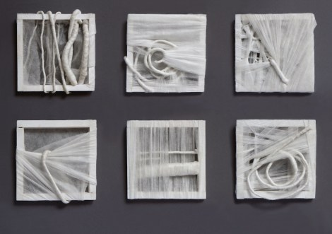 Title:Disclosed Medium:wooden slats, non-woven fabric, fishing line, steel wire Size:(6x)16,5x16,5cm