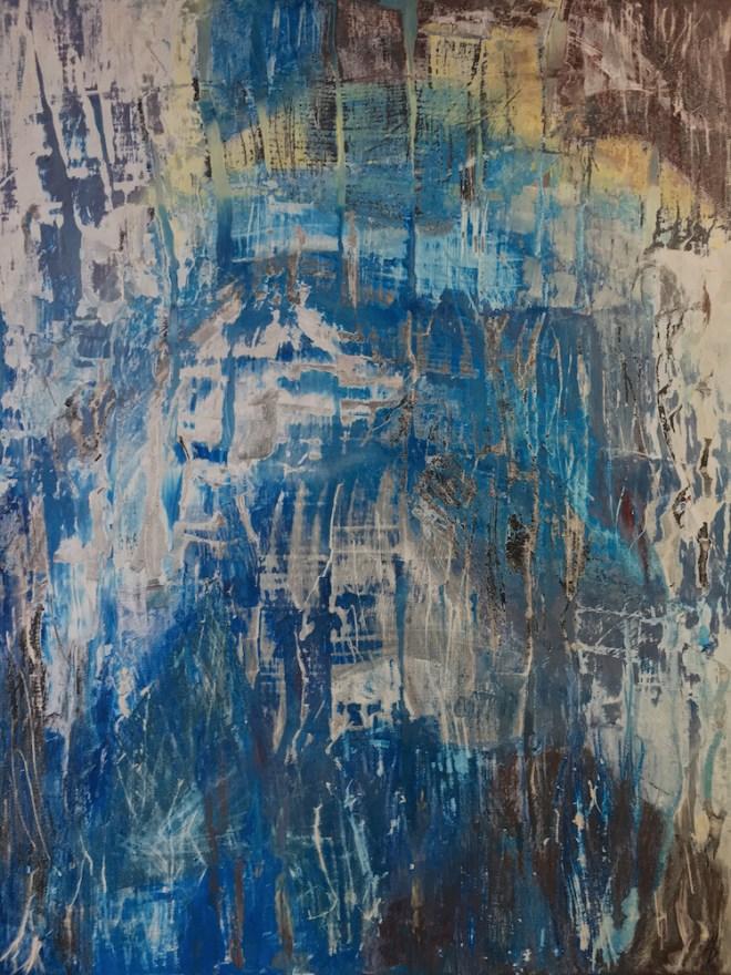 "Title Abstract IV Medium Acrylics Size 28"" x 22"""