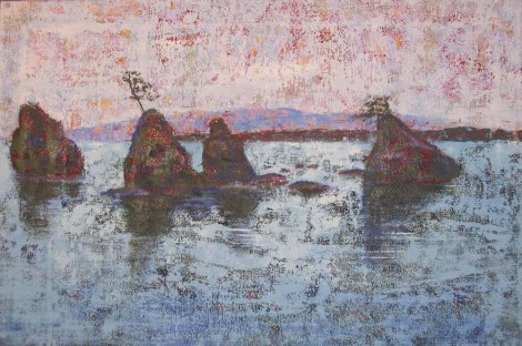 "Title:Untitled with rocks in bay Medium:	Acrylic Size:	20"" x 30"""