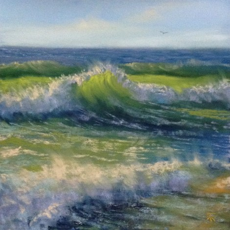 "Title:Sunny Waves Medium:Pastel Size:8""x8"""