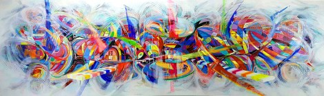 Title:LOVE Medium:	Acrylic on canvas Size:	100x360 cm.