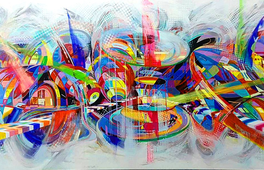 Title: LOVE Medium: Acrylic on canvas Size: 100x360 cm.