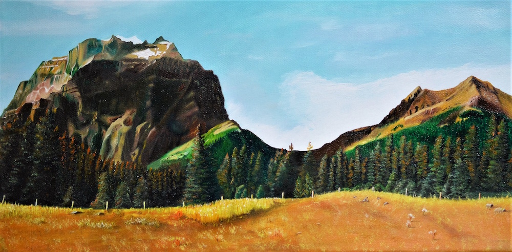 "Title Alberta Canada Medium oil on gallery stretch canvas Size 10"" x 20"""