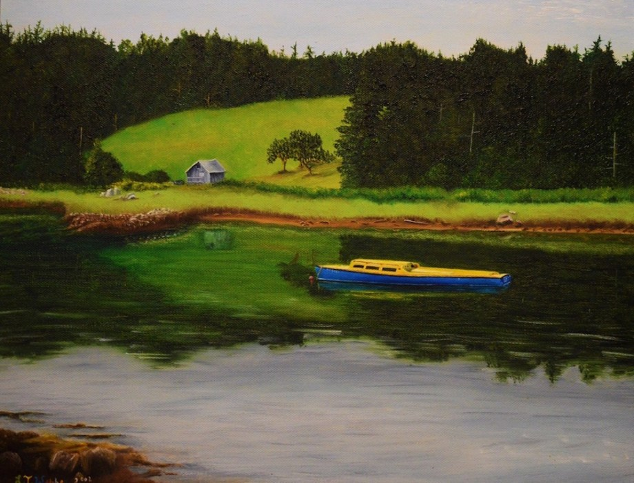 "Title BLUE AND YELLOW BOAT Medium OIL ON STRETCH CANVAS Size 14"" X 18"""