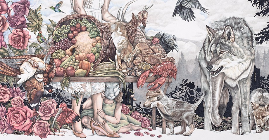 Title: Possession Medium: Ink and Colored Pencil on Paper Size: 36 x 78 inches