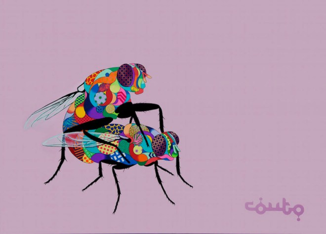 Title:Flies Mating Medium:Acrylic on Canvas Size:6ft x 8ft