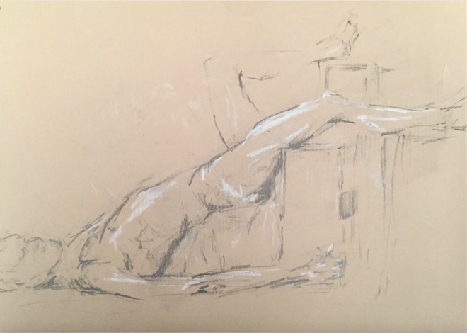 """Title:Nu, allongé (""""Nude, lying down"""") Medium:graphite and pastel on kraft paper Size:8"""" x 11"""""""