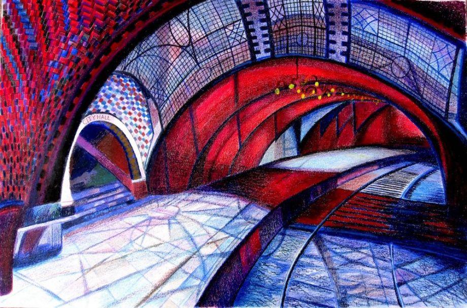 "Title:The Underground NY City Hall Subway Medium:colored pencils, wax art bars & oil pastels Size:27"" X 37"""