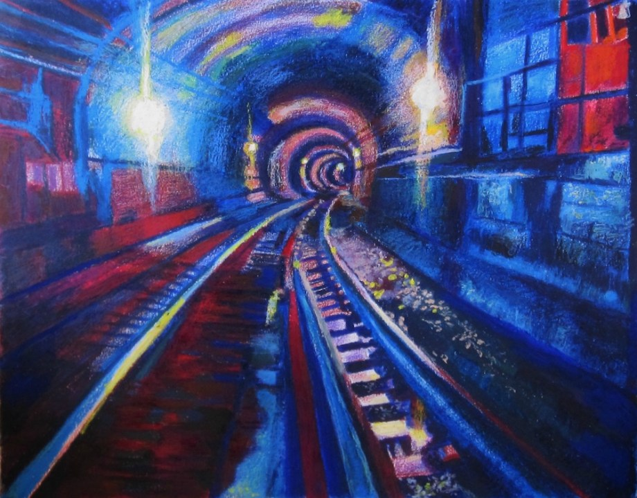 """Title:The NYC 2nd Ave Subway Medium:colored pencils, wax art bars & oil pastels Size:21.5"""" X 23"""""""