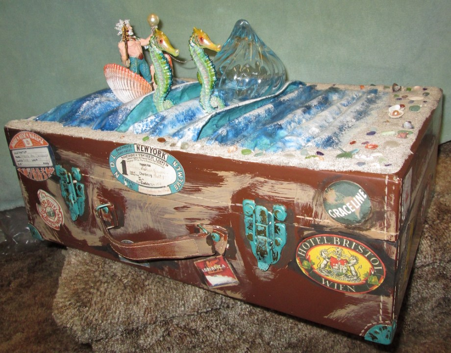"Title:Poseidon Steamer Trunk Medium:	Decoupage on suitcase Size:	30""x22""x10"""