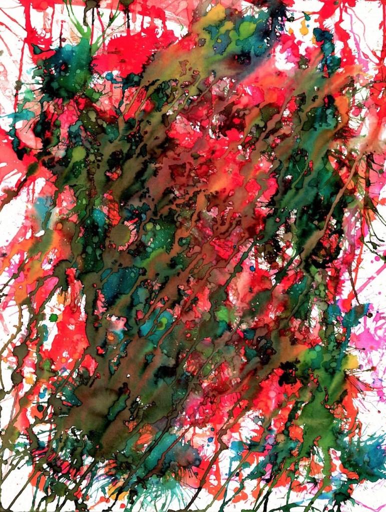 Title:Cosmic Rain Medium:watercolor Size:18x24