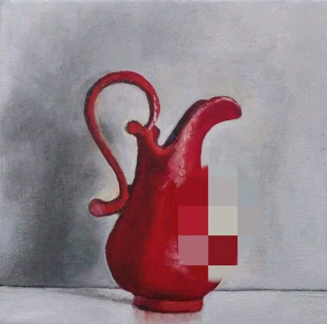 Title:Pixelated Pitcher Medium:Oil on canvas Size:W 7 in. x H 7 in.