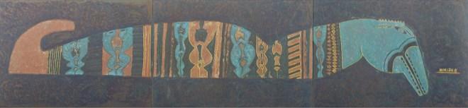 Title:Blue Seahorse Medium:Unpolished Lacquer On Wood Size:60cm X 261cm X 1.5cm