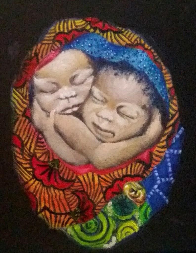 "Title:Omo Kekere Medium:oil on canvas Size:9"" x 12 """