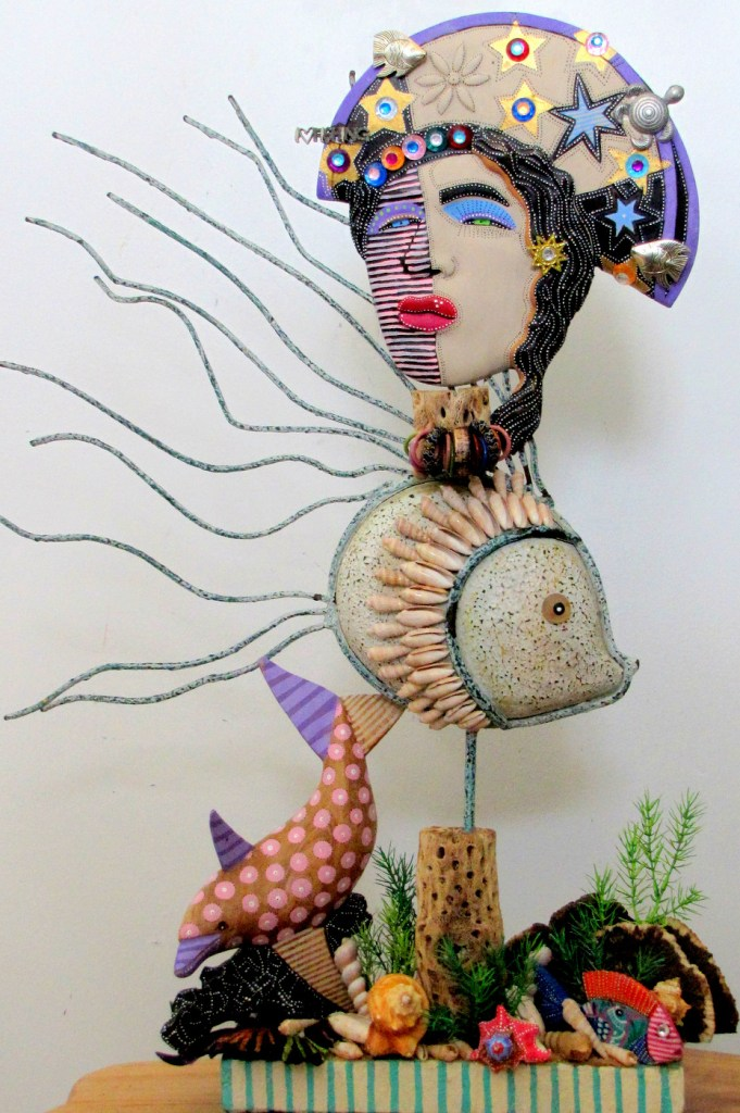 Title:The World As I Sea It Medium:recycled found objects Size:21H x 13W x 5D