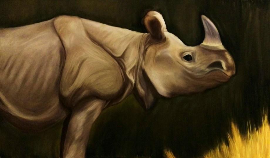 "Title:Javan Rhino Medium:Soft Pastel Size:36""x48"""