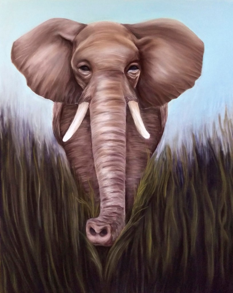 "Title:Elephant Medium:Soft Pastel Size:48""x36"""