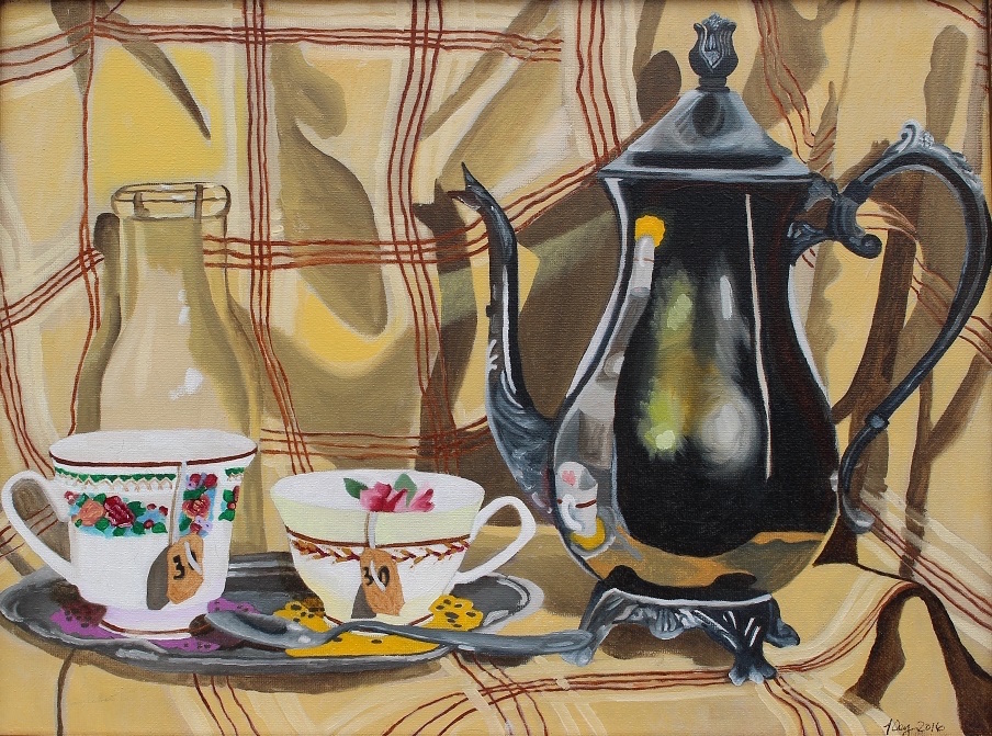 Title:Two Cups Medium:	Oil Paint Size:	12x16 inches