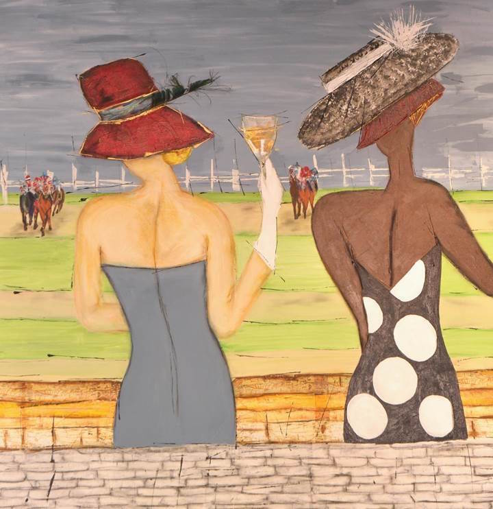 Title:Day At The Races Medium:	Mixed-Acrylic, Oil Crayon Pastel, Tissue Paper Size:	5ftx5ft