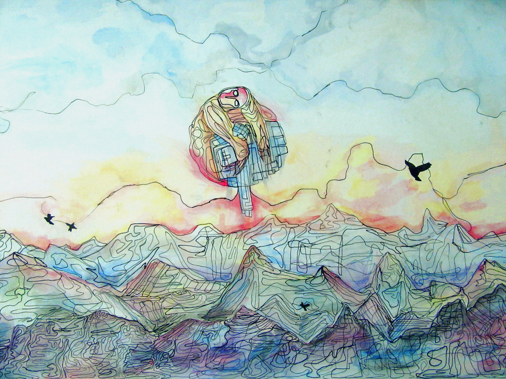 """Title: Sun one, Moon Done Medium: Watercolor and Ink Size: 20""""x30"""""""