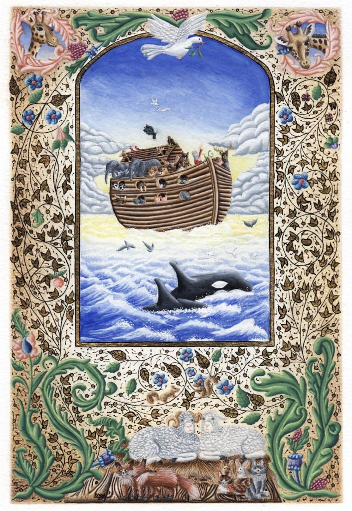 """Title:Noah's Ark Medium:Illuminated text Size:6.2"""" x 9"""""""