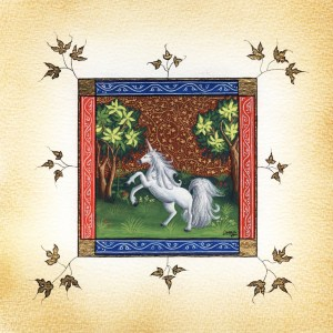 "Title: Unicorn Medium: Illuminated text Size: 6.6"" x 6.6"""
