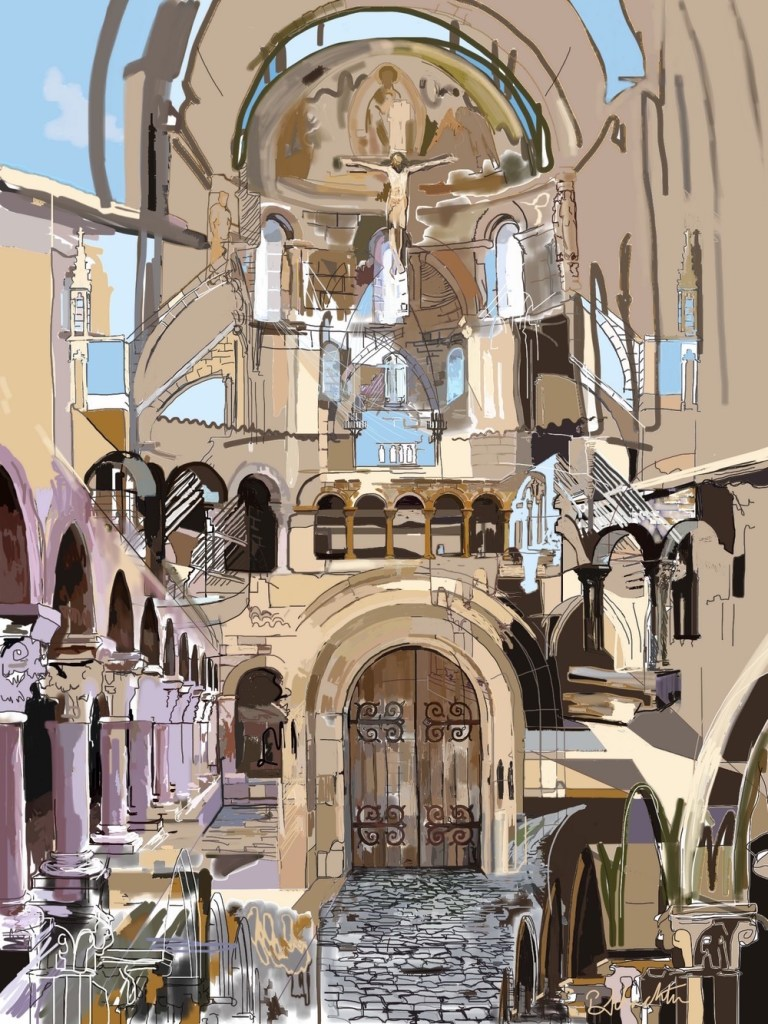 "Title:The Cloisters Medium:	iPad drawing/giclee print Size:	14"" x 11"""