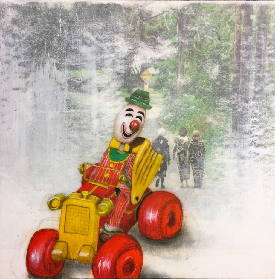 Title:Clowns Are Terrorizing the Old Neighborhood Medium:	Oil and charcoal over photography on panel Size:	12' x 12'
