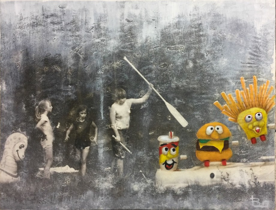 """Title:Frienemies For Life Medium:oil and charcoal over photography on panel Size:11"""" x 14"""""""