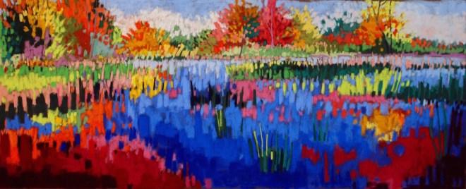 "Title:Jeweled Pond Medium:pastel Size:12"" x 30"""