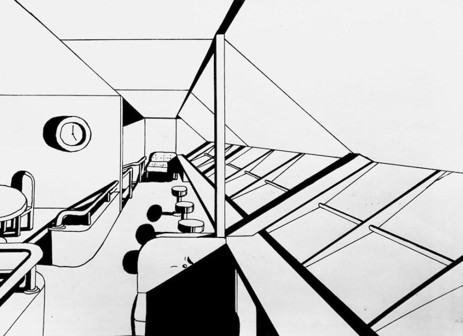 "Title:Rigid Airship Observation Deck Medium:Micron Pen and sharpie Size:8.5"" x 11"""
