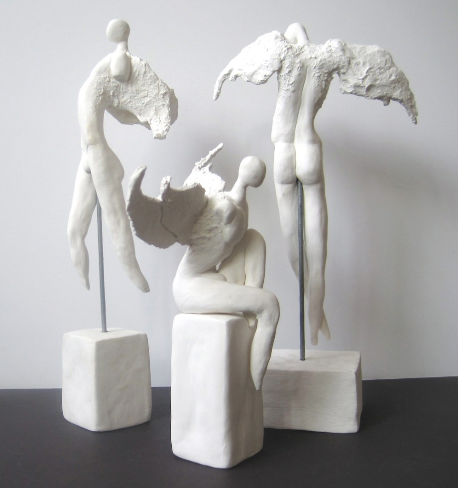 "Title:Gabriel,Uriel,Michael Medium: clay Size:h.12"",8"",12""w.5"",8"",7"""