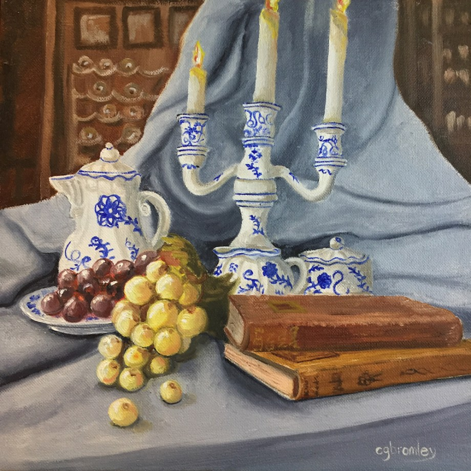 Title:Blue Still Life Medium:	Oil Size:	12x12