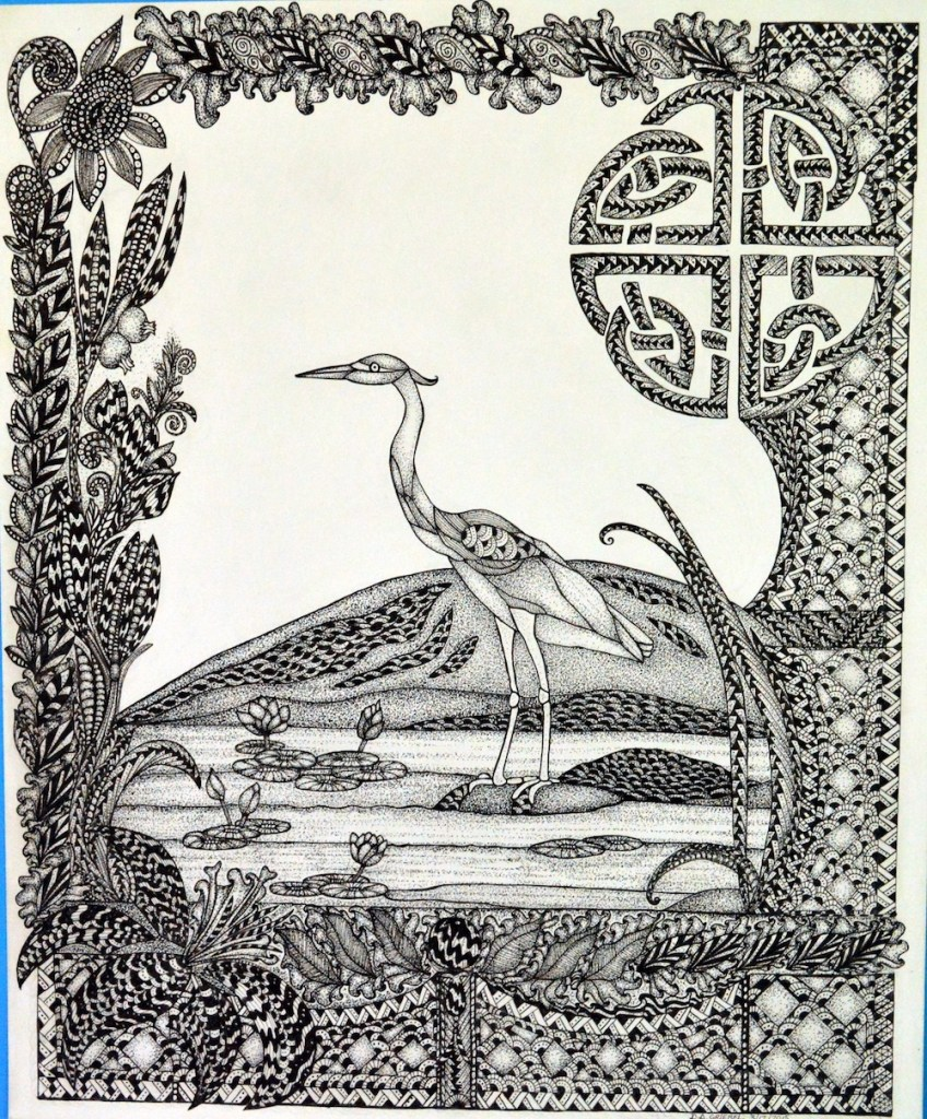 """Title:Heron Medium:Pen and Ink Size:14""""x17"""""""
