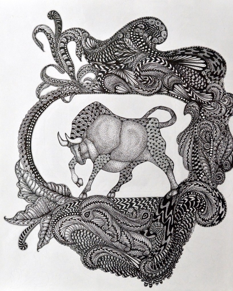 """Title:Bull Medium:Pen and Ink Size:14""""x17"""""""