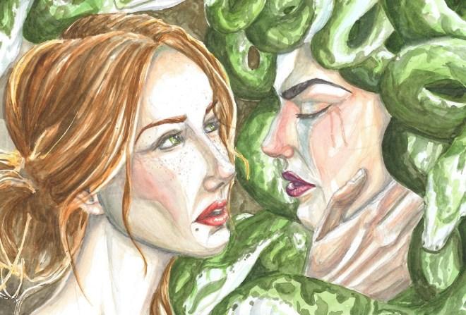 Title:Medusa's Deliverance Medium:Watercolor Size:2000 x 1353 px
