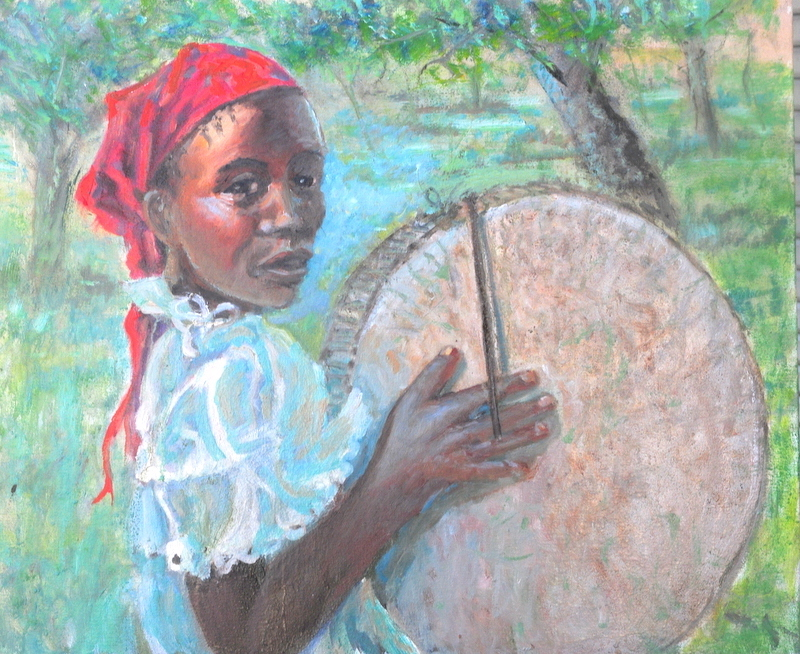 Title:Little Drummer Girl (Kenya) Medium:	oil Size:	20x24