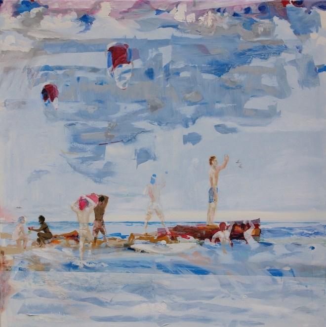 Title:On the jetty Medium: Oil Size: 90 x 90 x 2 cm