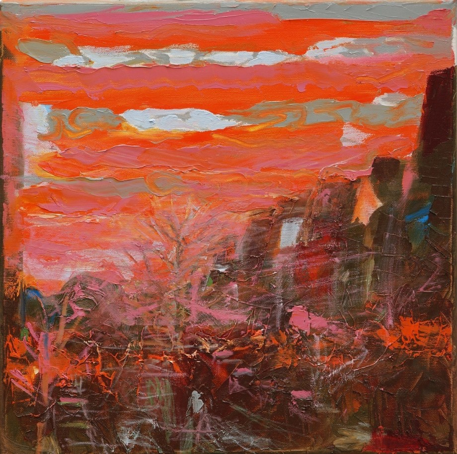 Title:Sunrise on Oker Street in Berlin Medium:Oil Size:40 x 40 x 2 cm