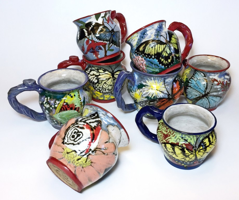 "Title:Butterfly Teacups Medium:	Ceramics Size:	3"" x 4"" cups"