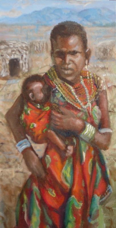 Title:Masaii mother and child(Tanzania) Medium:oil Size:20x24