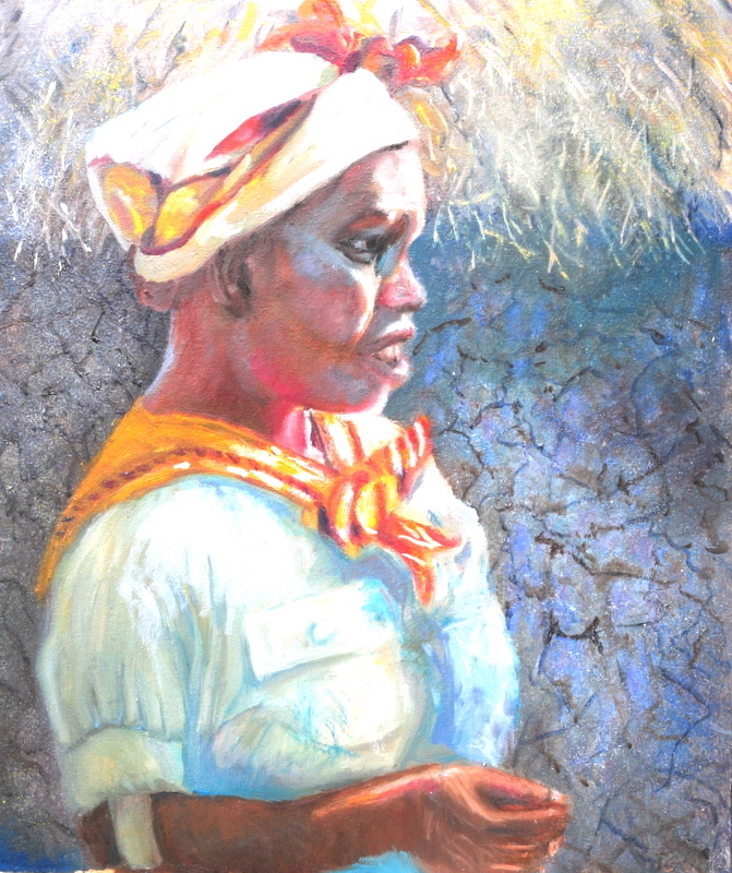 Title:Village Miss (Kenya) Medium:	OIL Size:	20x24