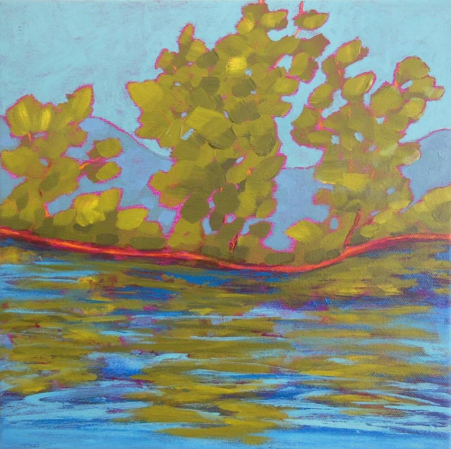 "Title:Green Ripples Medium:acrylic on canvas Size:10"" x 10"""